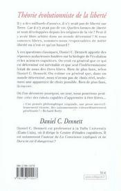 Theorie Evolutionniste De La Liberte - 4ème de couverture - Format classique