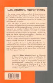 L'argumentation selon Perleman ; pour une raison au coeur de la rhétorique - 4ème de couverture - Format classique
