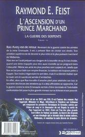 La guerre des serpents t.2 ; l'ascension d'un prince marchand - 4ème de couverture - Format classique