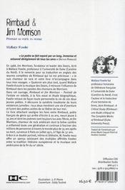 Rimbaud et Jim Morrison ; portrait du poète en rebelle - 4ème de couverture - Format classique