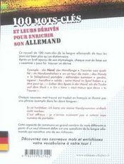 100 mots-clés et leurs dérivés pour enrichir son allemand - 4ème de couverture - Format classique