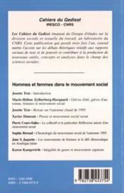 Hommes et femmes dans le mouvement social - 4ème de couverture - Format classique