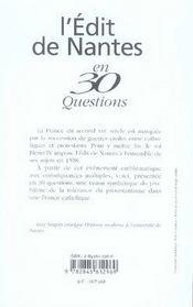L'édit de nantes en 30 questions - 4ème de couverture - Format classique