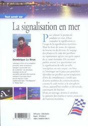 Tout Savoir Sur La Signalisation En Mer - 4ème de couverture - Format classique