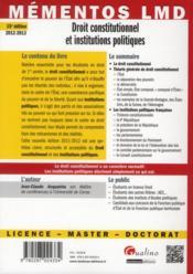 Droit constitutionnel et institutions politiques (15e édition) - 4ème de couverture - Format classique
