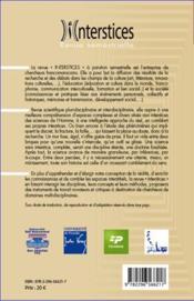 Interstices N.1 ; L'Etranger Culturel - 4ème de couverture - Format classique