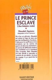 Le Prince Esclave - 4ème de couverture - Format classique