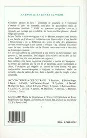 La famille, le lien, la norme ; actes du colloque de l'institut des sciences de la famille, Lyon - 4ème de couverture - Format classique