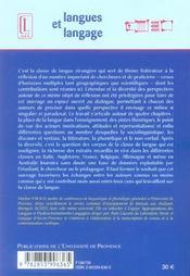 La Classe De Langue. Theories, Methodes Et Pratiques - 4ème de couverture - Format classique