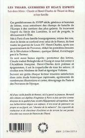 Les Thiard ; Guerriers Et Beaux Esprits - 4ème de couverture - Format classique