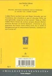 Le Secret De L'Abbe Pierre - 4ème de couverture - Format classique