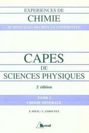 Experience de chimie capes de sciences physiques t.2 ; chimie generale - Intérieur - Format classique
