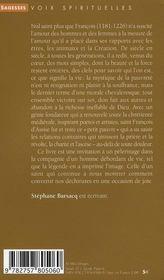 François d'Assise ; la joie parfaite - 4ème de couverture - Format classique
