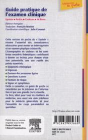 Guide Pratique De L'Examen Clinique - 4ème de couverture - Format classique