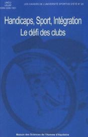 Handicaps, sport, intégration ; le défi des clubs sportifs - Couverture - Format classique