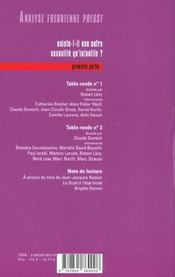 Afp 03 - Existe T-Il Une Autre Sexualite Qu'Infantile ? 1 - 4ème de couverture - Format classique