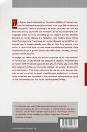 De l'UCL aux Etats-Unis ; les boursiers de la Belgian American Educational Foundation, de 1964 à 1969 - 4ème de couverture - Format classique