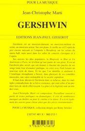 Gershwin - 4ème de couverture - Format classique
