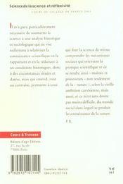 Science De La Science Et Reflexivite - 4ème de couverture - Format classique