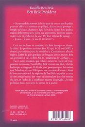 Taoufik Ben Brik President ; Tunis City 2004 - 4ème de couverture - Format classique