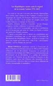 Les Republiques-Soeurs Sous Le Regard De La Grande Nation 1795-1803 ; De L'Italie Aux Portes De L'Empire Ottoman - 4ème de couverture - Format classique