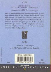 Lettre a un jeune catholique - 4ème de couverture - Format classique