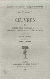 Oeuvres - Tome Ii: Suitte Des Oeuvres (1631), Seconde Partie Des Oeuvres (1643) - Couverture - Format classique