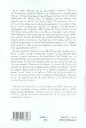 Histoire de la philosophie moderne de la fin du moyen âge à emmanuel kant - 4ème de couverture - Format classique