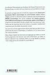 Maths Ece 1 & 2 Exercices Avec Indications Et Corriges Detailles Pour Assimiler Tout Le Programme - 4ème de couverture - Format classique