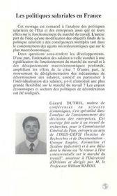 Les Politiques Salariales En France, 1960-1992 - 4ème de couverture - Format classique