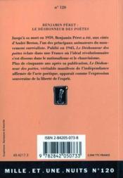 Le Deshonneur Des Poetes - 4ème de couverture - Format classique