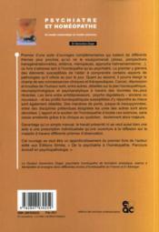 Psychiatre Et Homeopathe ; Du Trouble Melancolique... Au Trouble Cancereux - 4ème de couverture - Format classique