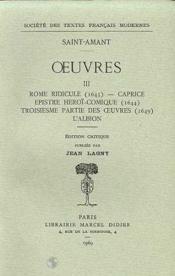 Oeuvres - Tome Iii: Rome Ridicule. Caprice. Epistre Heroi-Comique. Troisieme Par - Couverture - Format classique