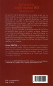 La monarchie de droit ancestral Téké ; sacralité et autorité - 4ème de couverture - Format classique