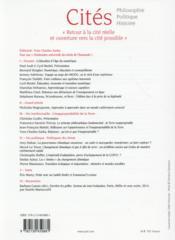 Revue Cites T.63 ; Apprendre Et Transmettre A L'Age Du Numérique - 4ème de couverture - Format classique