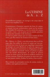 La cuisine de a a z - 4ème de couverture - Format classique