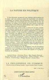 La Nature En Politique Ou L'Enjeu Philosophique De L'Ecologie - 4ème de couverture - Format classique