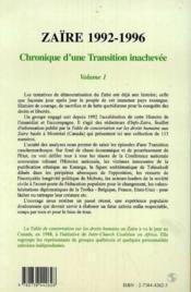 Zaïre 1992-1996 t.1 ; chronique d'une transition inachevée - Couverture - Format classique