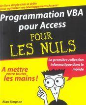 Programmation vba pour access pour les nuls - Intérieur - Format classique
