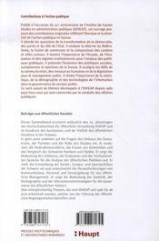 Contributions à l'action publique (beitrage zum offentlichenhandeln) - 4ème de couverture - Format classique