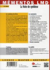 La note de synthèse (12e édition) - 4ème de couverture - Format classique