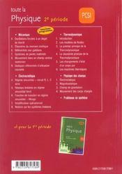 Toute La Physique Pcsi 2e Periode Cours Exercices Corriges Nouveau Programme - 4ème de couverture - Format classique