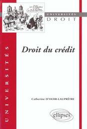 Droit Du Credit - Intérieur - Format classique