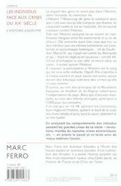 Les Individus Face Aux Crises Du Xxe Siecle - 4ème de couverture - Format classique