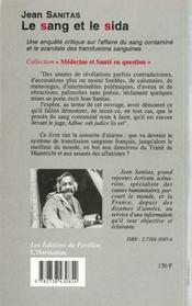 Le Sang Et Le Sida - 4ème de couverture - Format classique