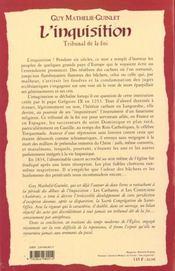 L'inquisition ; tribunal de la foi - 4ème de couverture - Format classique