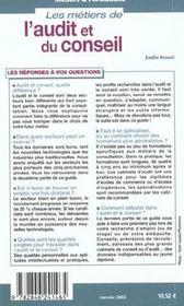 Les Metiers De L'Audit Et Du Conseil - 4ème de couverture - Format classique
