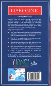 Guide Ulysse ; Lisbonne - 4ème de couverture - Format classique