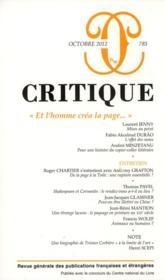 Revue Critique N.785 ; Et L'Homme Créa La Page... - Couverture - Format classique