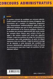 Les Epreuves De Droit Public Concours Administratifs Categories A Et B Concours Externes Et Internes - 4ème de couverture - Format classique
